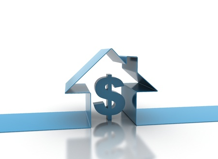 3d render of house and dollar sign  photo