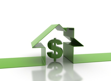 3d render of house and dollar sign