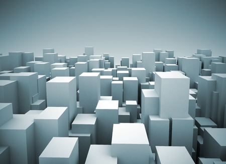 Abstract city made of cubes photo