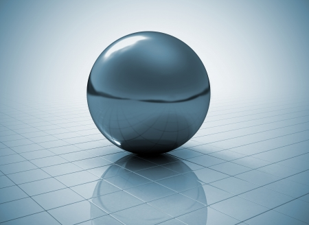 Glossy sphere on tile shiny floor