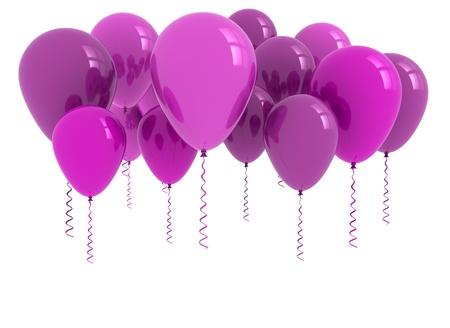purple ribbon: 3d model purple ballons on white background  Stock Photo