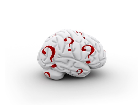 Brain and question marks - Questions Stock Photo