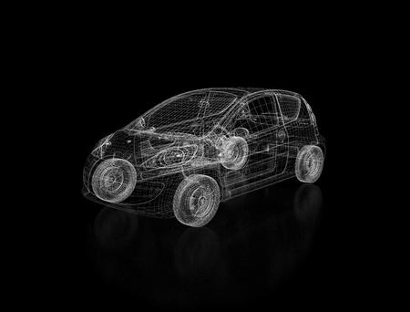 dibujo tecnico: Modelo de marco de alambre de coche