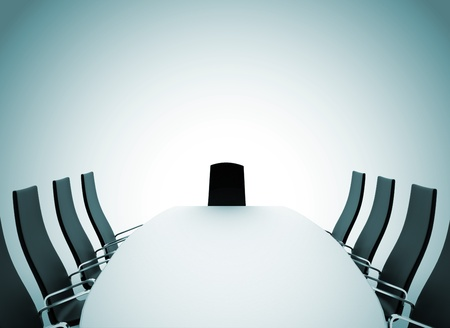 board room: Boardroom table and chairs on white background