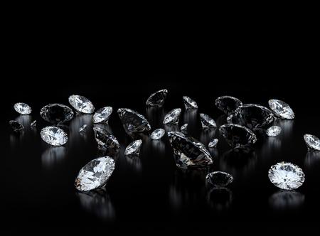 value: Diamanti su sfondo nero Archivio Fotografico