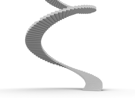 steps to success: Spiral stair case on white background