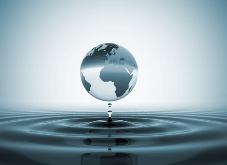 World globe water drop photo