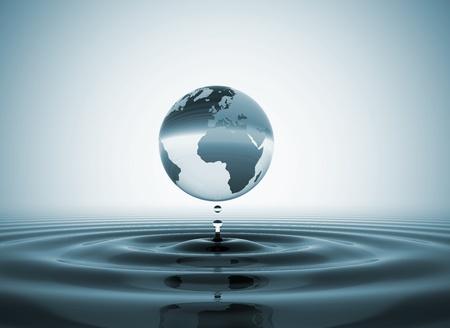World globe water drop