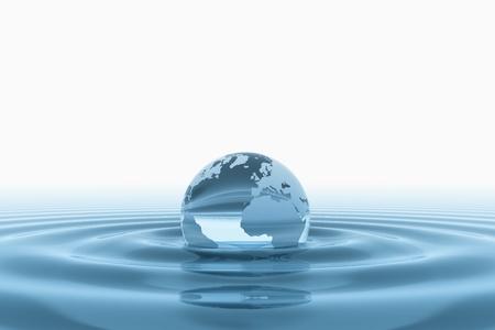 agua: Globo del mundo en agua