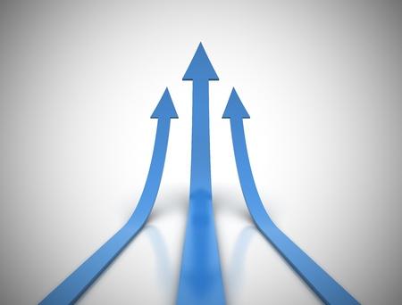 Rising blue arrows 3d render  photo