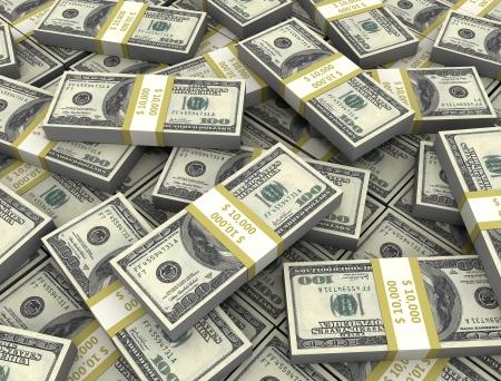 gotówka: 3D ilustracja Dolar banknotów wysokiej rozdzielczoÅ›ci