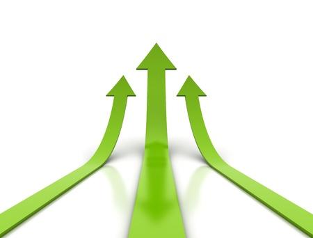 行き: 上昇している 3 つの緑色の矢印