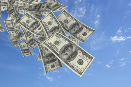 jackpot: Falling money blue sky background  Stock Photo