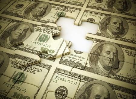 entreprise puzzle: Argent puzzle la derni�re pi�ce manquante  Banque d'images
