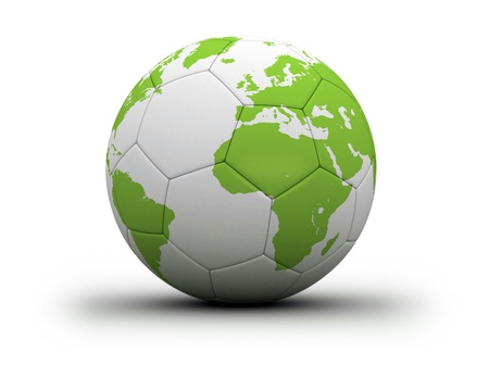 world map on soccer ball photo