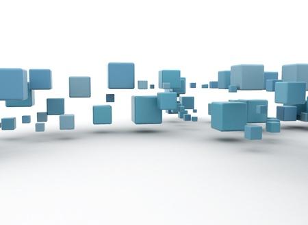 levitacion: Flotante cubos azules  Foto de archivo
