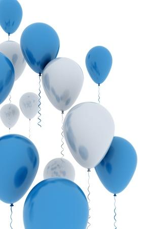 marco cumplea�os: Blanco y azul aislado de globos Foto de archivo