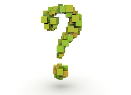internet mark: Question mark made of colorful cubes  Stock Photo