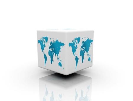boîte de monde sur fond blanc
