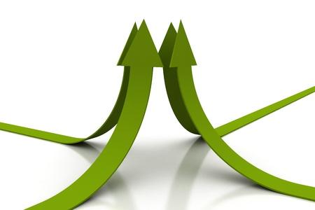 Green arrows illustration 3d render illustration