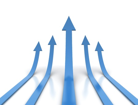 price development: Blue arrows - competition conceptual illustration