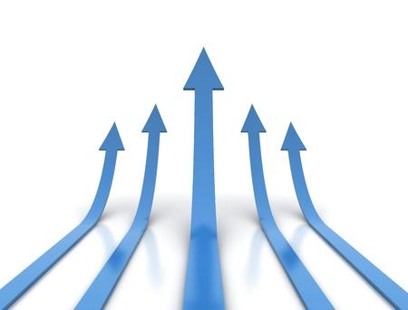 Blue arrows - competition conceptual illustration