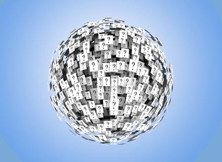 クエスチョン マークの球体を形成 写真素材 - 9653948