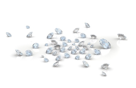 Large amount of diamonds on white background