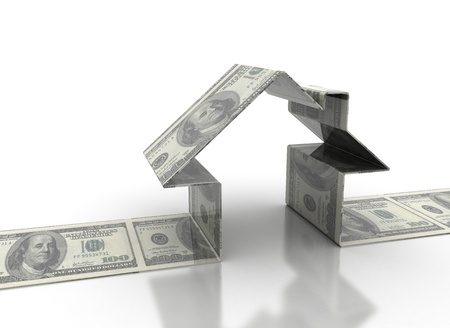 house prices: House model made of dollar bills  Stock Photo