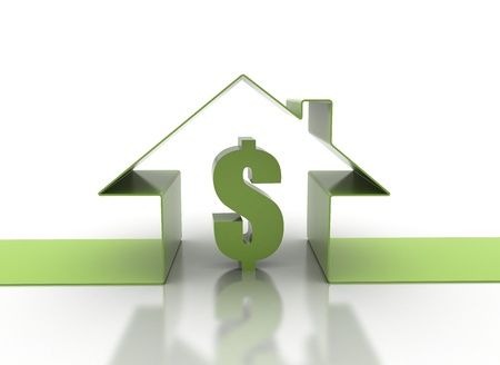 house exchange: House symbol and dollar sign real estate concept