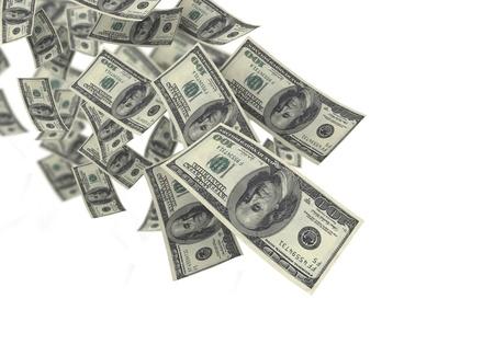 Falling money blue sky background photo