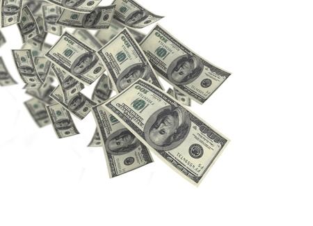 one hundred dollar bill: Falling money blue sky background