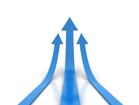 sales graph: 3d render of blue arrows going up  Stock Photo