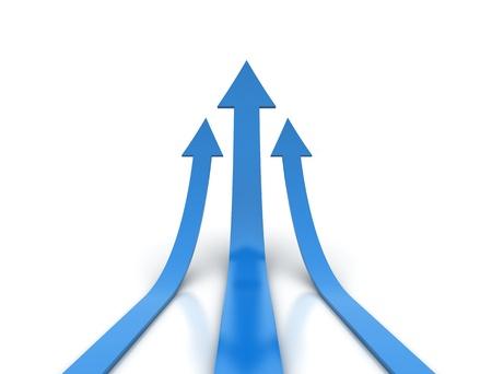 in aumento: render 3D de flechas azules subiendo