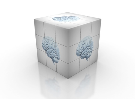 Brain image on cube  photo