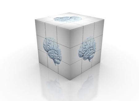 Brain image on cube  photo