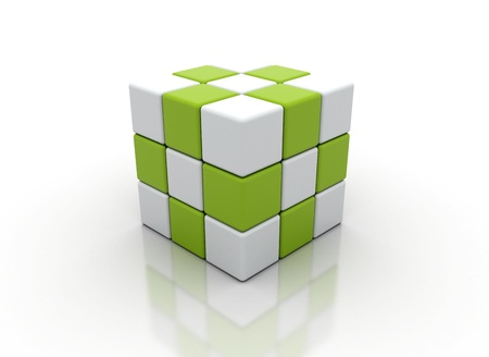 Abstract white and green cubes on a white  Stock Photo - 9897285
