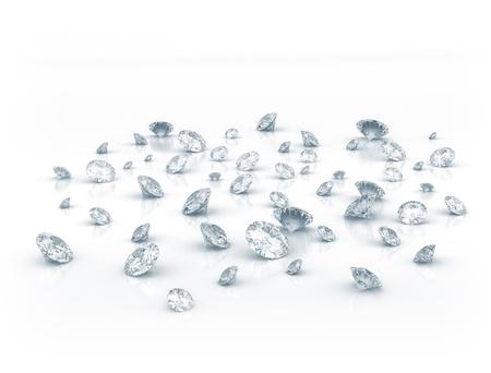 millonario: Diamantes sobre fondo blanco brillante  Foto de archivo