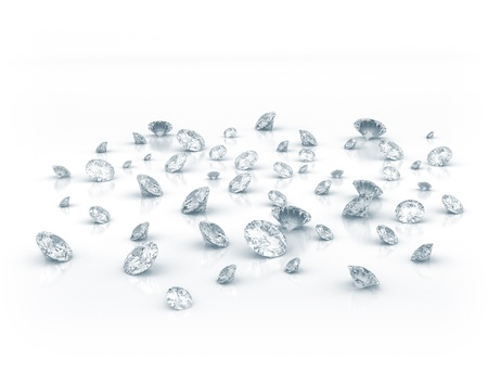 clarity: Diamonds on white shiny background