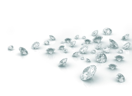 Diamonds on white shiny background