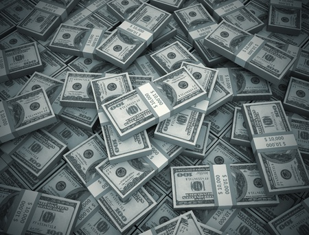 Center light in a big pile of money