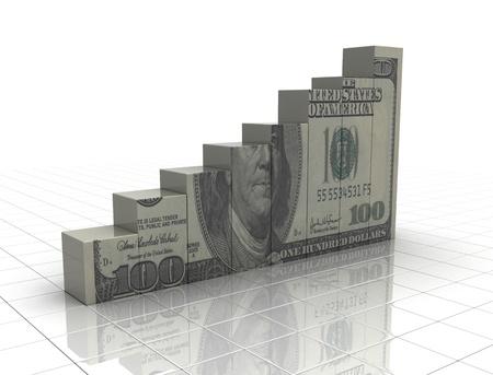 graficos de barras: Gr�fico de dinero subiendo textura efectivo sobre fondo blanco Foto de archivo