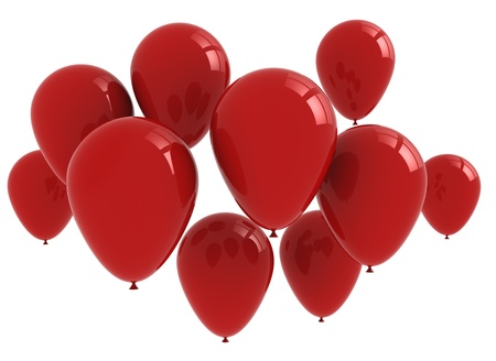 Bunch og red balloons  Stock Photo - 9897288