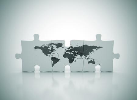 global problem: Mapa del mundo en puzzle Foto de archivo