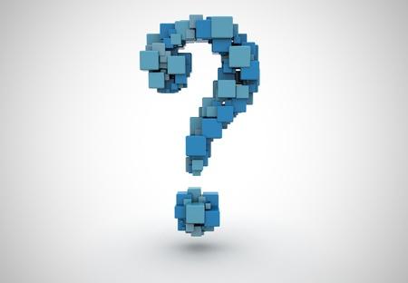 point d interrogation: Point d'interrogation abstraite faite de cubes Banque d'images