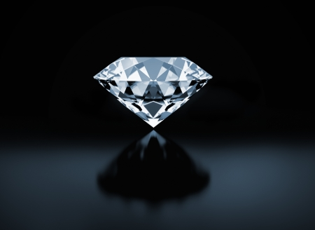 diamante negro: Diamante único sobre fondo negro Foto de archivo