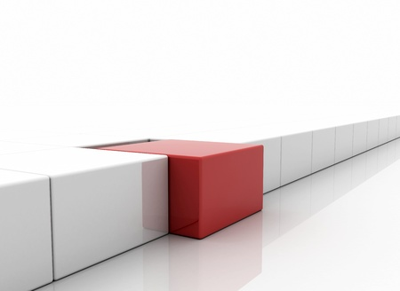 red cube: Individuality concept - red box standing out Stock Photo
