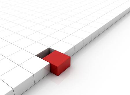 cubo: Concepto de la individualidad - caja roja destacando Foto de archivo