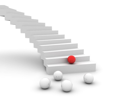 upstairs: Leadership concept red spheres and steps