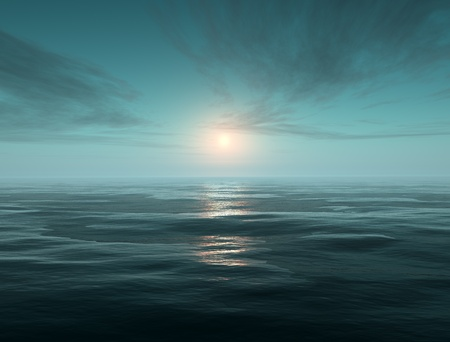fantasy scene tranquil ocean  Stock Photo